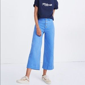 Madewell Emmett Wide-Leg Crop Pants Blue Fountain
